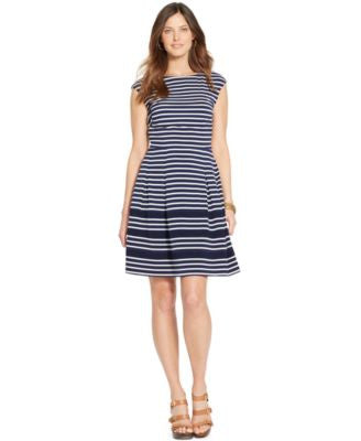 American Living Striped Cap-Sleeve Dress