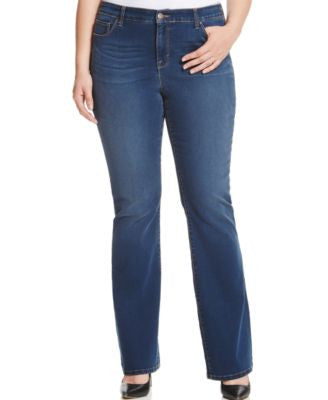 Style & Co. Plus Size Tummy-Control Bootcut Jeans, Marine Wash