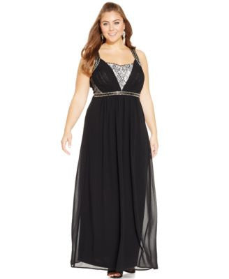 City Chic Plus Size Beaded Chiffon Gown