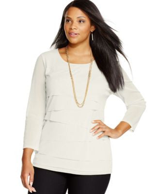 Alfani Plus Size Tiered Top, Only at Vogily