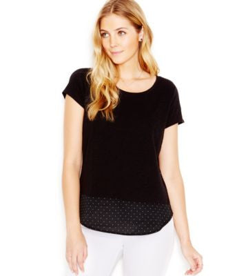 Maison Jules Layered-Look Pin-Dot T-Shirt, Only at Vogily