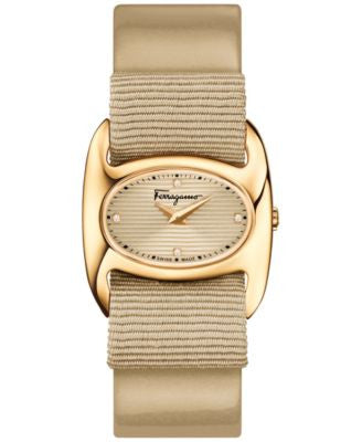 Ferragamo Women's Swiss Varina Diamond Accent Interchangeable Champagne Patent Leather and Grosgrain