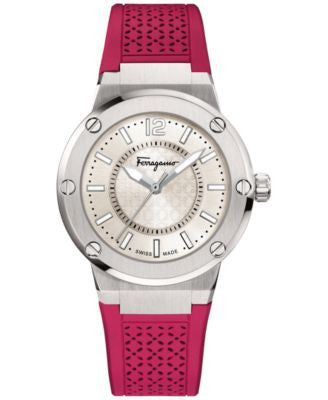 Ferragamo Women's Swiss Burgundy Rubber Strap Watch 33mm FIG010015