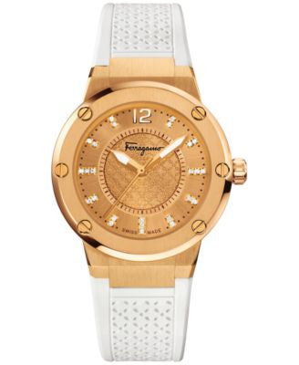 Ferragamo Women's Swiss F-80 Diamond (1/10 ct. t.w.) White Rubber Strap Watch 33mm FIG070015