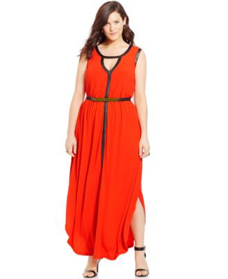 City Chic Plus Size Faux-Leather-Trim Belted Maxi Dress