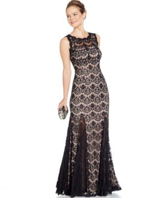 Betsy & Adam Open-Back Lace Gown