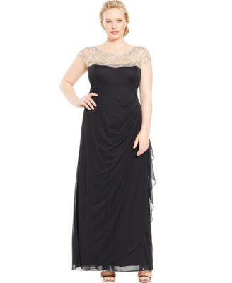 Xscape Plus Size Illusion Ruched-Back Gown