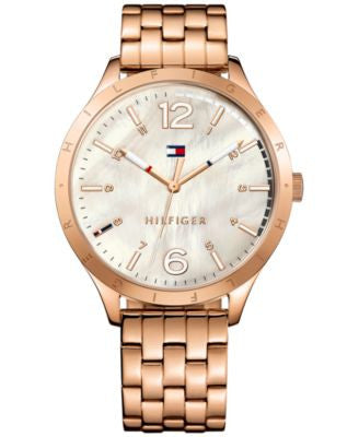 Tommy Hilfiger Women's Rose Gold-Tone Stainless Steel Bracelet Watch 40mm 1781548