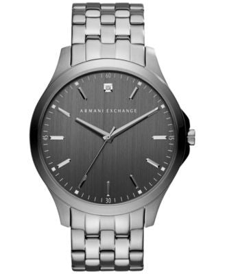 A|X Armani Exchange Men's Diamond Accent Gunmetal Ion-Plated Stainless Steel Bracelet Watch 46mm AX2