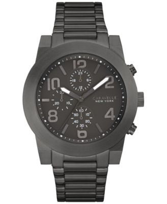 Caravelle New York by Bulova Men's Chronograph Sport Black Stainless Steel Bracelet Watch 44mm 45A12