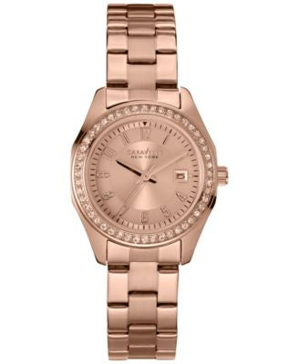 Caravelle New York by Bulova Women's Rose Gold-Tone Stainless Steel Bracelet Watch 28mm 44M103