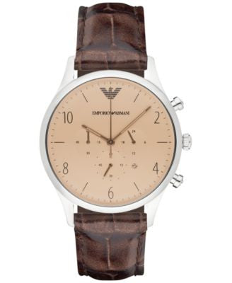 Emporio Armani Men's Chronograph Brown Leather Strap Watch 43mm AR1878