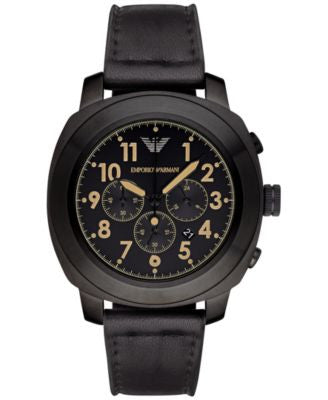 Emporio Armani Men's Chronograph Black Leather Strap Watch 46mm AR6061