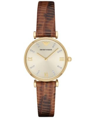 Emporio Armani Women's Dark Brown Leather Strap Watch 32mm AR1883