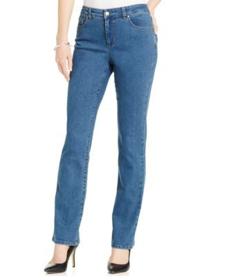 Charter Club Petite Tummy-Control Nantucket Wash Straight-Leg Jeans, Only at Vogily