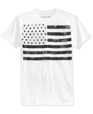 Ring of Fire Men's Floral-Print American Flag T-Shirt