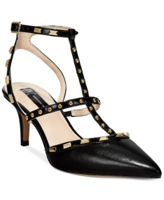 INC International Concepts Carma Pointed Toe Studded Kitten Heel Pumps, only at Vogily