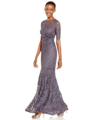 Xscape Lace Shimmer Mermaid Gown