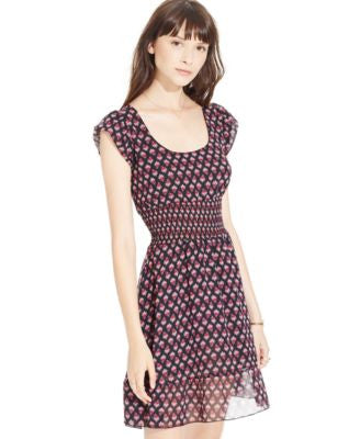 American Rag Printed Smocked-Waist Dress, Only at Vogily