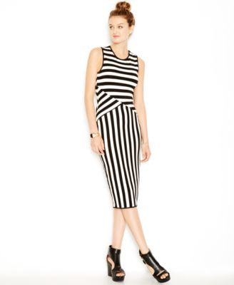 Bar III Striped Midi Bodycon Dress, Only at Vogily