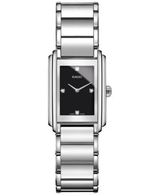 Rado Women's Swiss Integral Diamond Accent Silver-Tone Stainless Steel Bracelet Watch 23mm R20213713