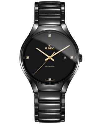 Rado Men's Swiss Automatic True Black Diamond Accent Ceramic Bracelet Watch 40mm R27056712