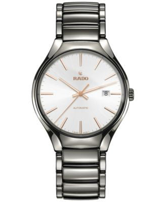 Rado Men's Swiss Automatic True Plasma High-Tech Ceramic Bracelet Watch 40mm R27057112
