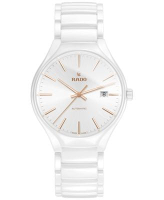 Rado Men's Swiss Automatic True White High-Tech Ceramic Bracelet Watch 40mm R27058112
