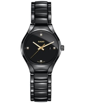 Rado Women's Swiss True Diamond Accent Black High-Tech Ceramic Bracelet Watch 30mm R27059712