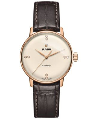 Rado Women's Swiss Automatic Coupole Classic Diamond Accent Dark Brown Leather Strap Watch 32mm R228