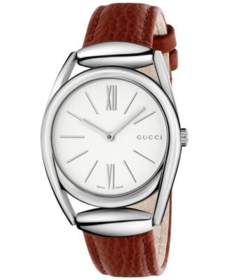 Gucci Women's Swiss Horsebit Brick Red Leather Strap Watch 34mm YA140403