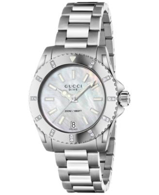 Gucci Women's Swiss Dive Diamond (1/8 ct. t.w.) Stainless Steel Bracelet Watch 32mm YA136405
