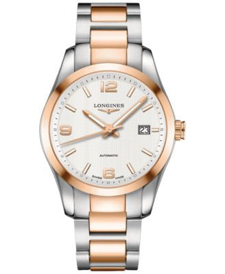 Longines Men's Swiss Automatic Conquest Classic 18k Pink Gold-Plated and Stainless Steel Bracelet Wa