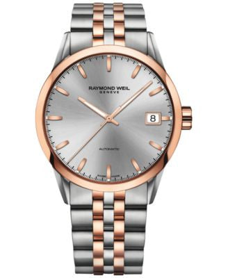 RAYMOND WEIL Men's Swiss Automatic Freelancer Rose Gold-Tone PVD and Stainless Steel Bracelet Watch