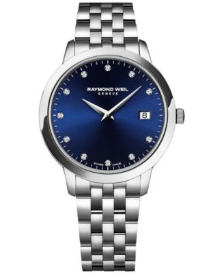 RAYMOND WEIL Women's Swiss Toccata Diamond Accent Stainless Steel Bracelet Watch 34mm 5388-ST-50081