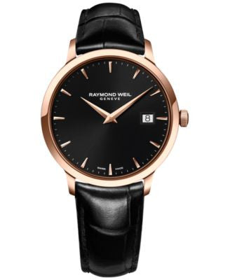 RAYMOND WEIL Men's Swiss Toccata Black Leather Strap Watch 39mm 5488-PC5-20001