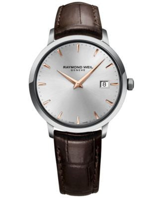 RAYMOND WEIL Men's Swiss Toccata Brown Leather Strap Watch 39mm 5488-SL5-65001