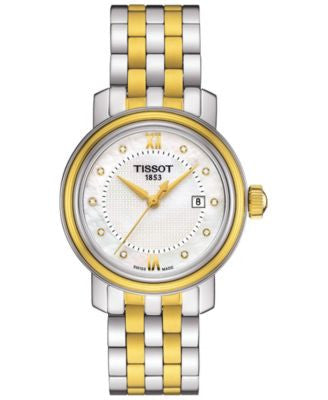 Tissot Women's Swiss Bridgeport Diamond Accent Two-Tone Stainless Steel Bracelet Watch 29mm T0970102