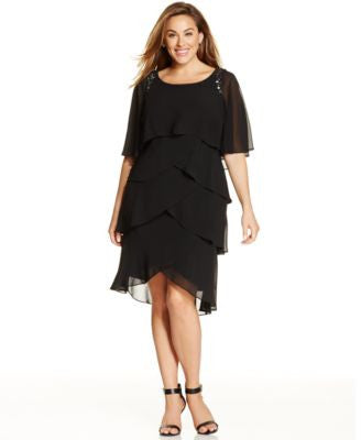 SL Fashions Plus Size Beaded Tiered Shift Dress
