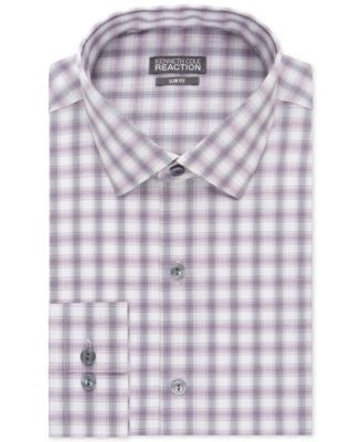 Kenneth Cole Reaction Slim-Fit Purple Multi-Check Performance Dress Shirt
