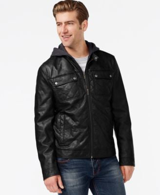 Kenneth Cole Hooded Quilted Bomber Jacket
