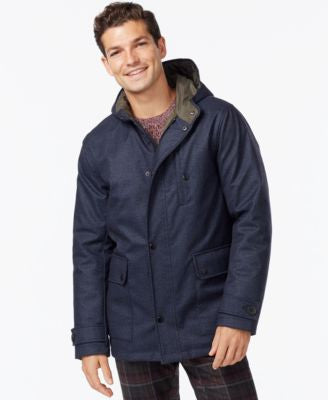 Kenneth Cole Hooded Jacket with Quilted Lining