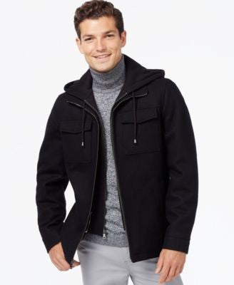 INC International Concepts Hooded Wool-Blend Jacket, Only at Vogily