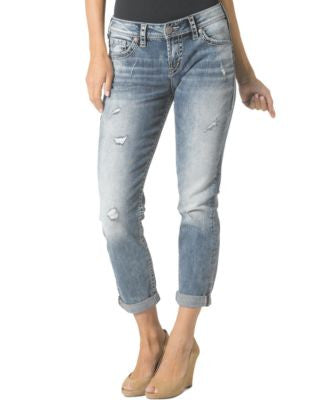 Silver Jeans Distressed Boyfriend Jeans, Medium Blue Wash