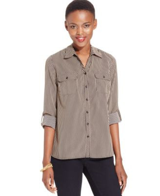 NY Collection Petite Roll-Tab Utility Shirt