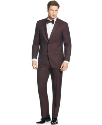 Perry Ellis Portfolio Burgundy Solid Slim-Fit Suit