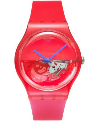 Swatch Unisex Swiss Dipred Red Silicone Strap Watch 41mm SUOR103