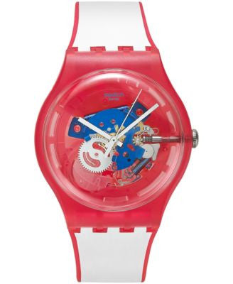 Swatch Unisex Swiss Clownfish Red White Silicone Strap Watch 41mm SUOR102