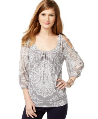 INC International Concepts Cold-Shoulder Printed Peasant Top, Only at Vogily