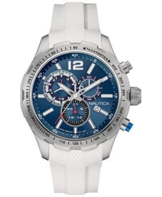 Nautica Men's Chronograph White Silicone Strap Watch 45mm 656086074499